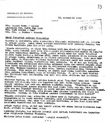 Karl Robert Pusta kiri Eesti Vabariigi esindajatele Londonis, New Yorgis, Genfis ja Torontos 19.11.1953. Foto: Rahvusarhiiv